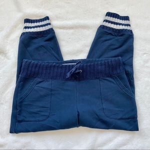 EUC Navy Joggers with Knit Waist and Ankles